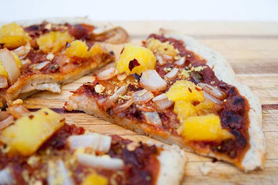 Chipotle Pizza with Pineapple and Onion close up
