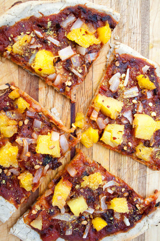 Vegan Gluten Free Pizza Crust with pineapple and onion.