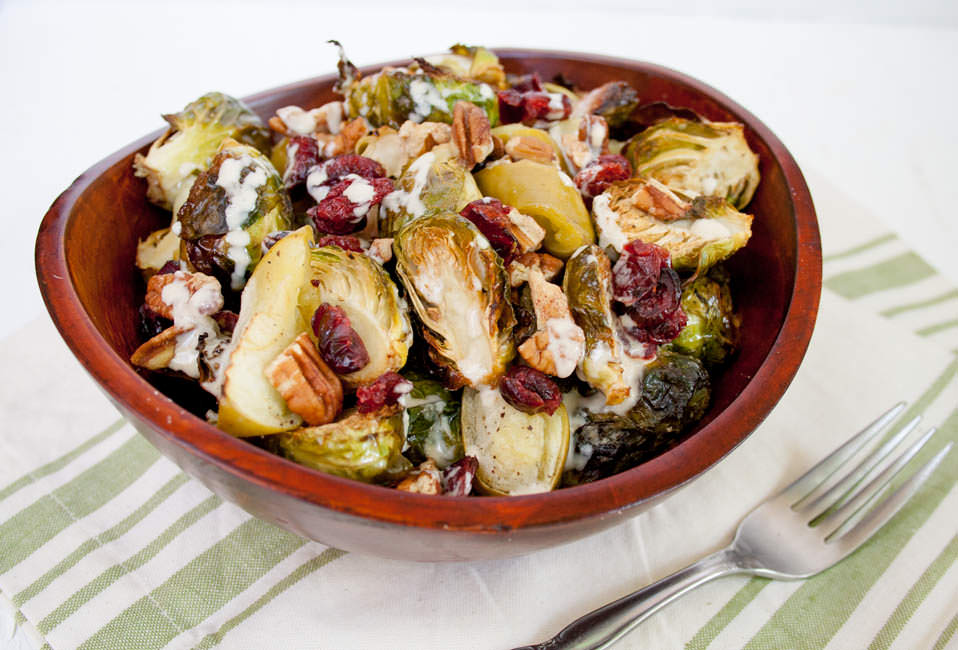 Roasted Brussels Sprouts and Apples with Tahini Dressing ...