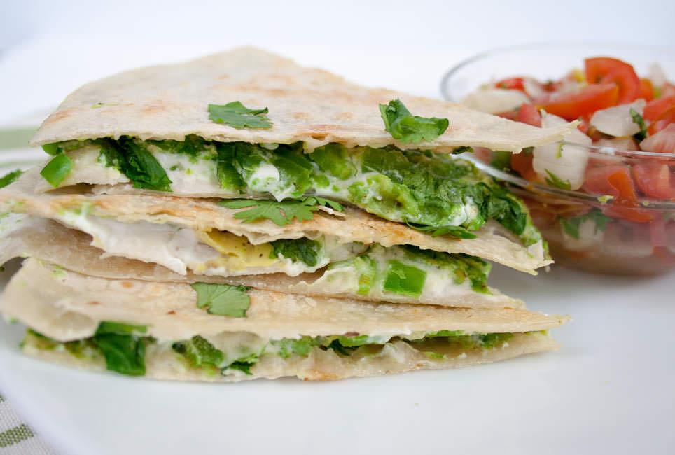 Vegan Avocado Quesadilla with Jalapeño close up