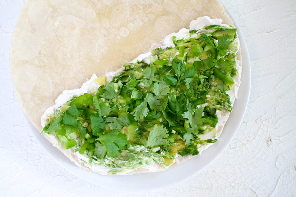 Vegan Avocado Quesadilla with Jalapeño open faced.