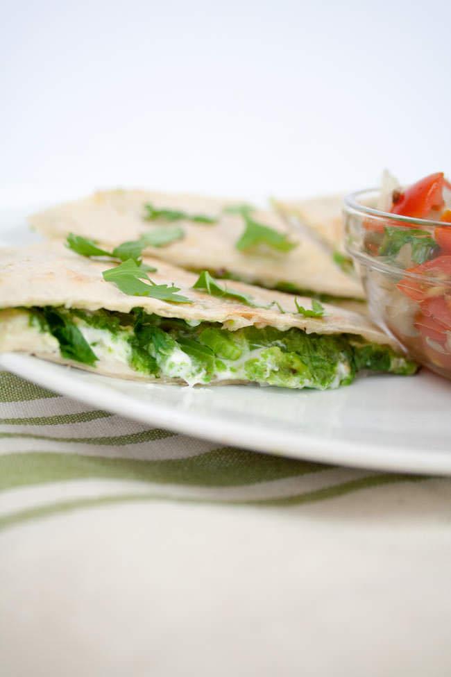 Vegan Avocado Quesadilla with Jalapeño vertical close up.