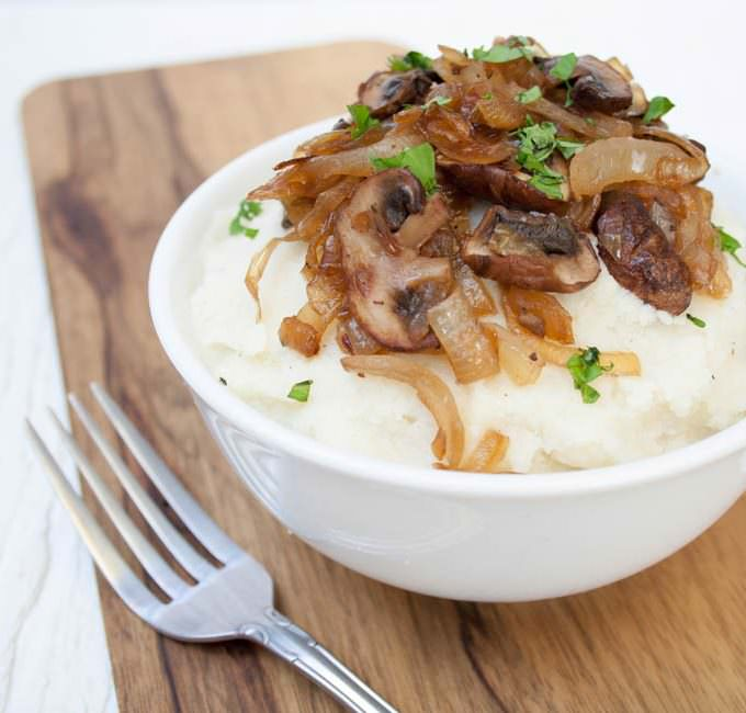 Vegan Mashed Cauliflower with Caramelized Onions and Mushrooms