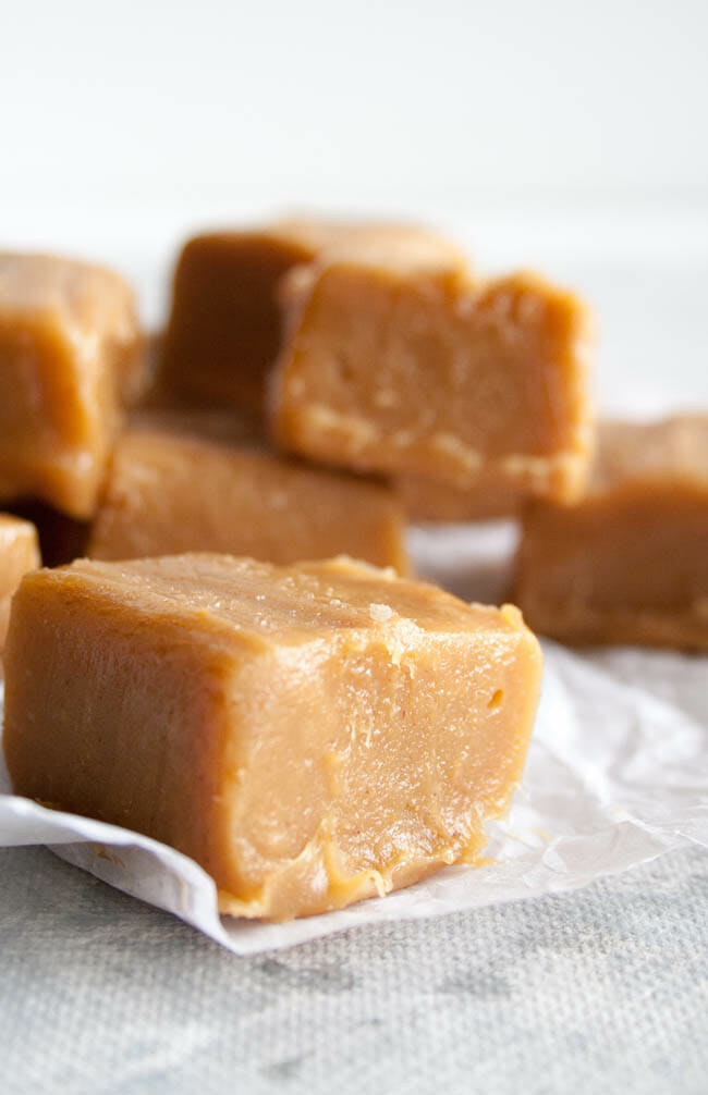 Two Ingredient Vegan Peanut Butter Fudge vertical close up of one piece with more pieces in the background.