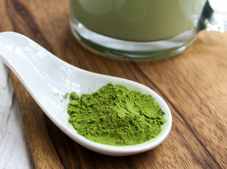 Vegan Matcha Latte - close up of matcha green tea powder.