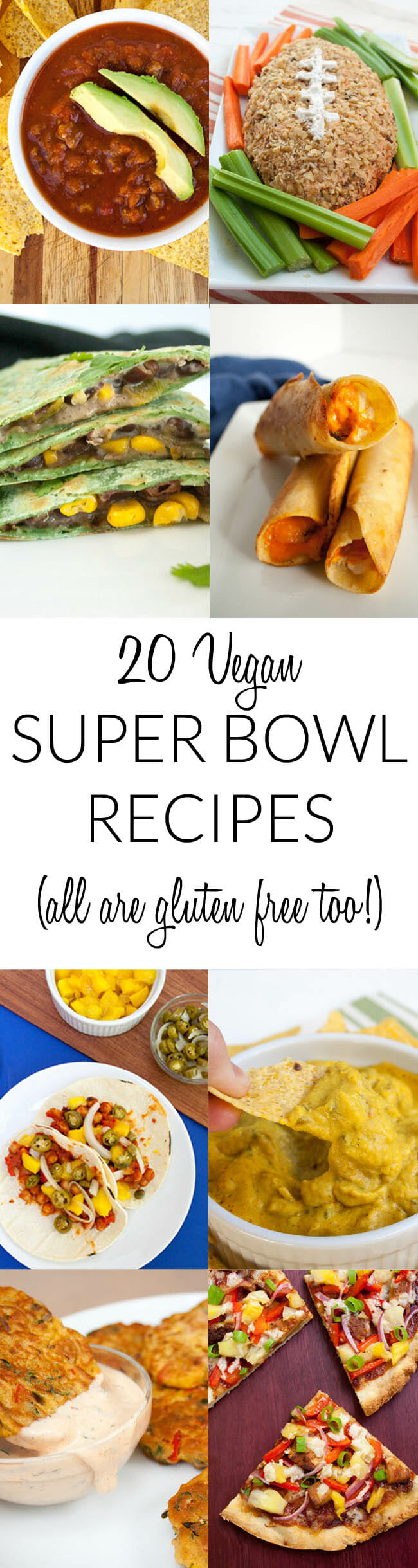 20 Vegan Super Bowl Recipes collage photo with text in the middle.