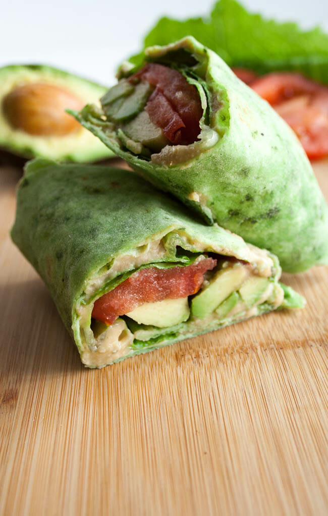 Wrap with avocado, lettuce, and tomato in the background.