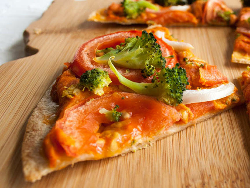 Spicy Hummus Tortilla Pizza close up.