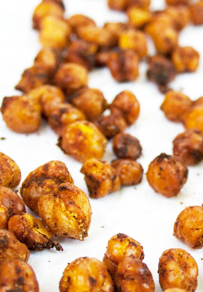 Sweet and Spicy Chipotle Roasted Chickpeas vertical close up