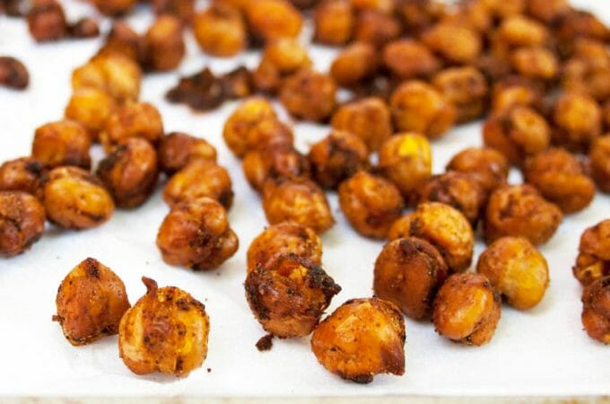 Sweet and Spicy Chipotle Roasted Chickpeas