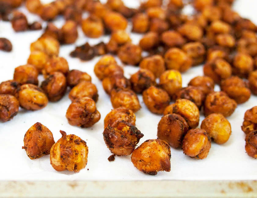 Sweet and Spicy Chipotle Roasted Chickpeas close up