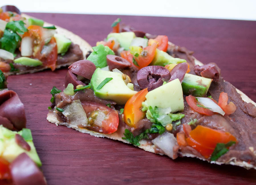 Vegan Mexican Tortilla Pizza close up.