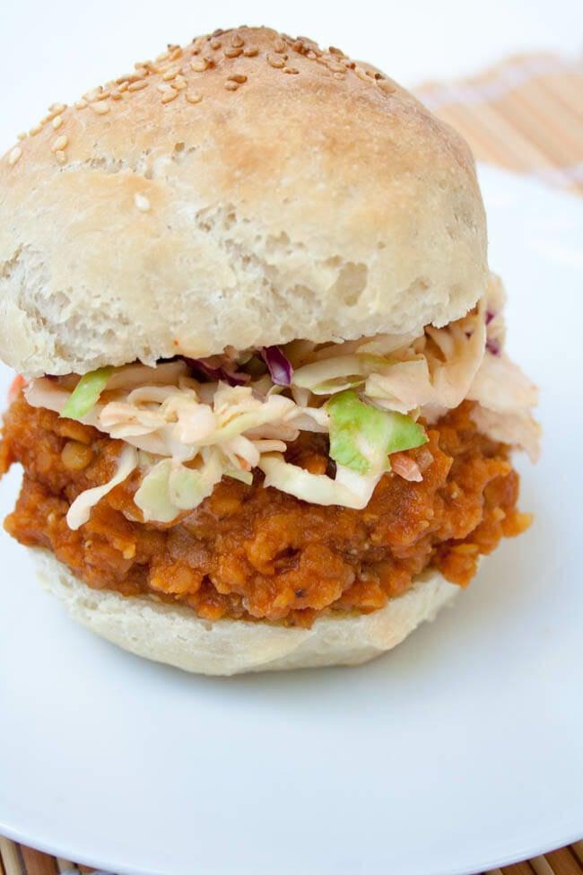 BBQ Lentil Sandwich with Sriracha Coleslaw