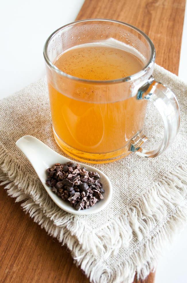 Cacao Tea and cacao nibs.