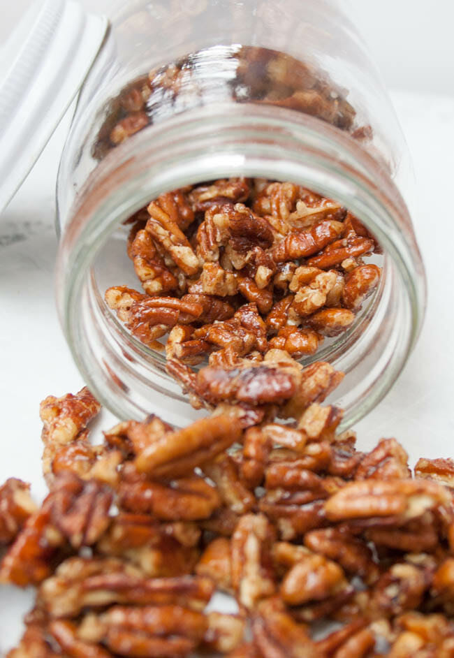 Candied Pumpkin Pie Spice Pecans in mason jar.