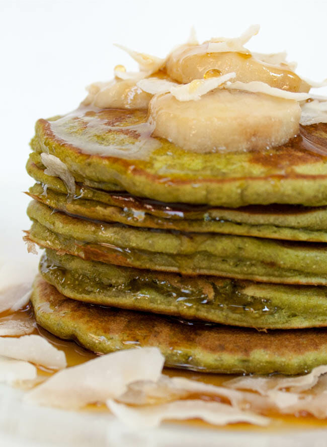 Matcha Banana Pancakes close up.