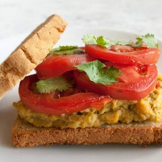 Smashed Chickpea and Avocado Sriracha Salad Sandwich