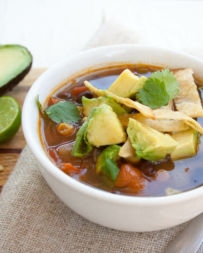 Vegan Tortilla Soup close up.