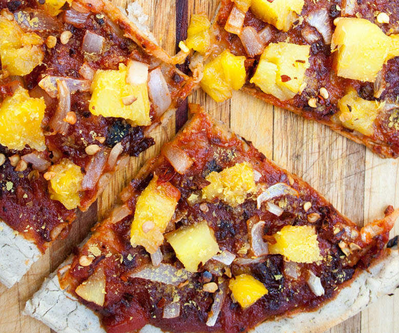 Chipotle Pizza with Pineapple and Onion sliced