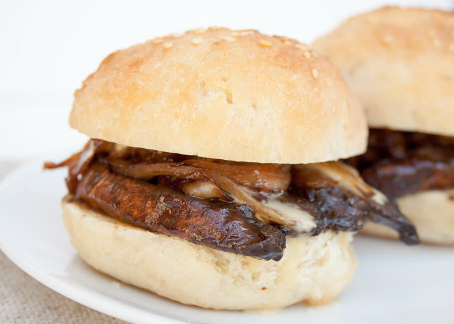 Portobello Mushroom and Caramelized Onion Sliders close up.