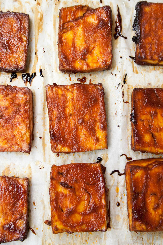 Baked BBQ Tofu on sheet pan.