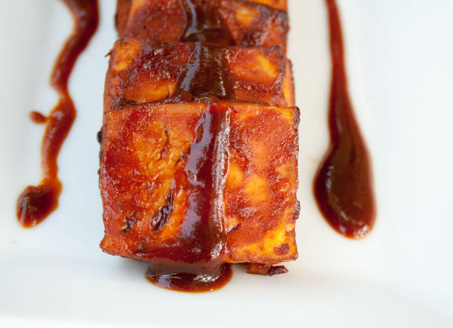 Baked BBQ Tofu with sauce.