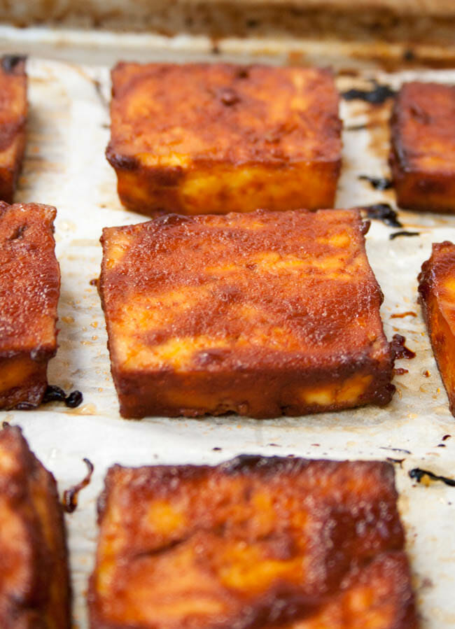 Barbeque Tofu close up.
