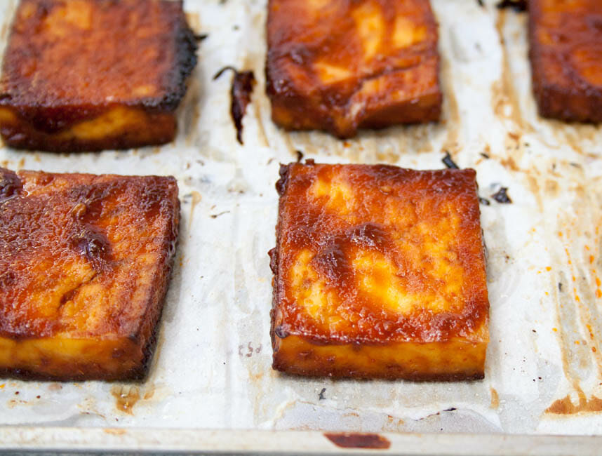 Barbeque Tofu on sheet pan