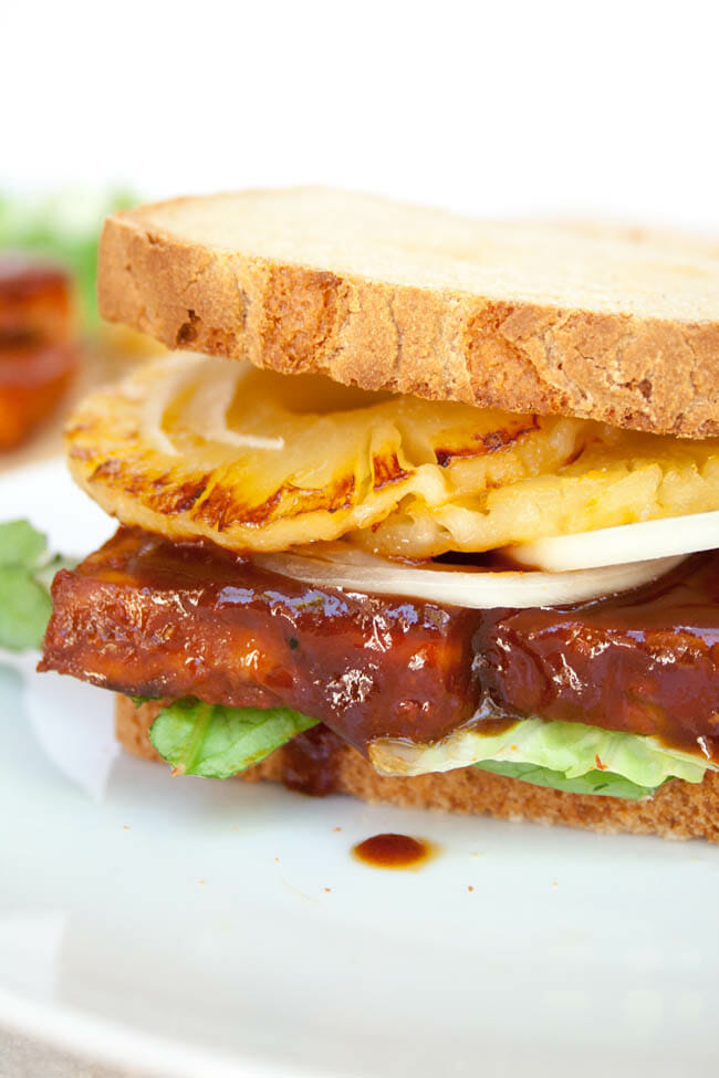 Vegan Tofu Sandwich with Baked BBQ Tofu close up