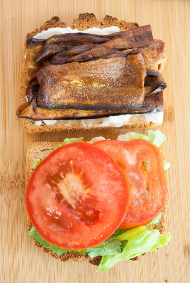 ELT (Eggplant Bacon, Lettuce, and Tomato) Sandwich open faced.