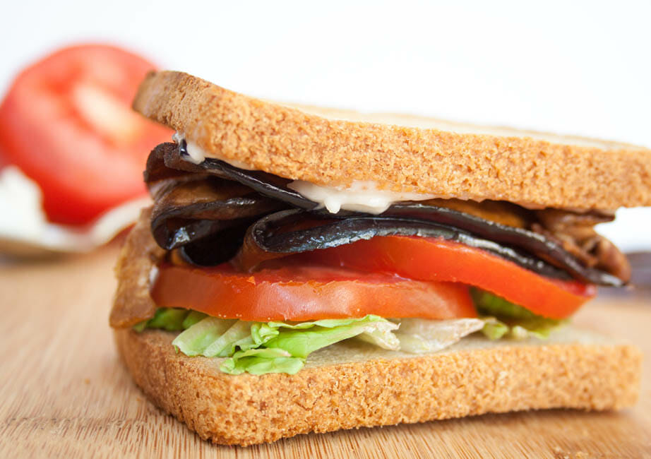 ELT (Eggplant Bacon, Lettuce, and Tomato) Sandwich close up.