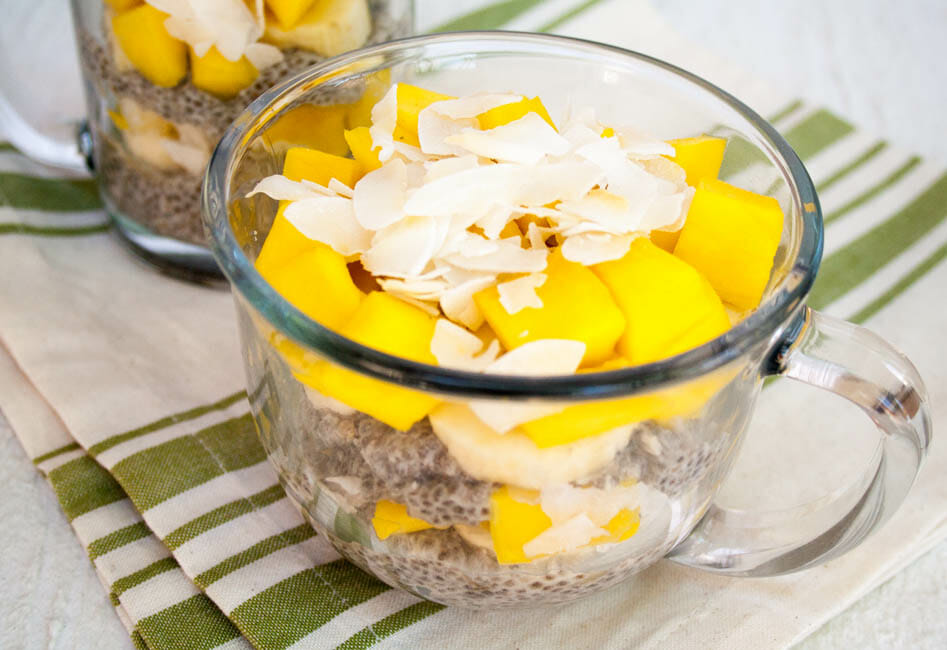 Tropical Chia Pudding close up.