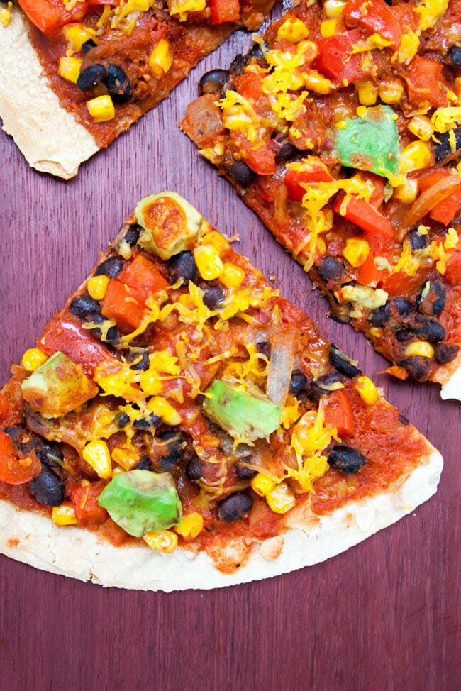 Vegan Enchilada Tortilla Pizza birds eye view
