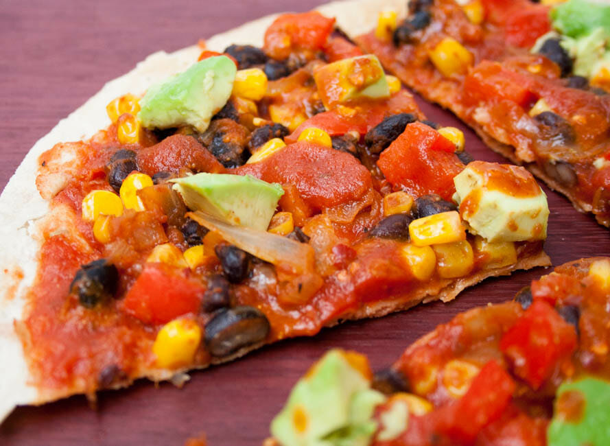 Vegan Enchilada Tortilla Pizza close up