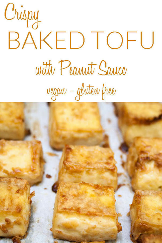 Crispy Baked Tofu with Peanut Sauce photo with text