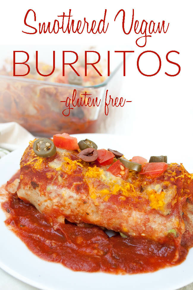 Smothered Vegan Burritos photo with text.