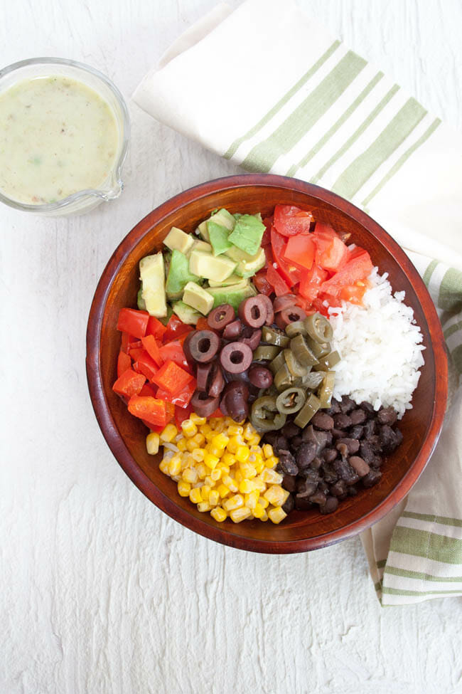 Vegan Burrito Bowl birds eye view