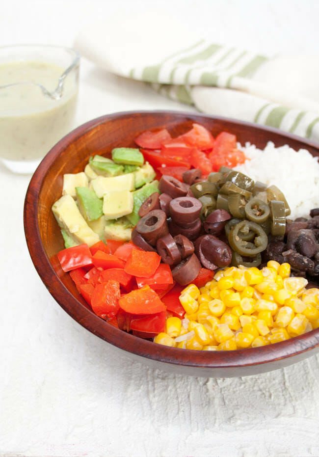 Vegan Burrito Bowl in wood bowl