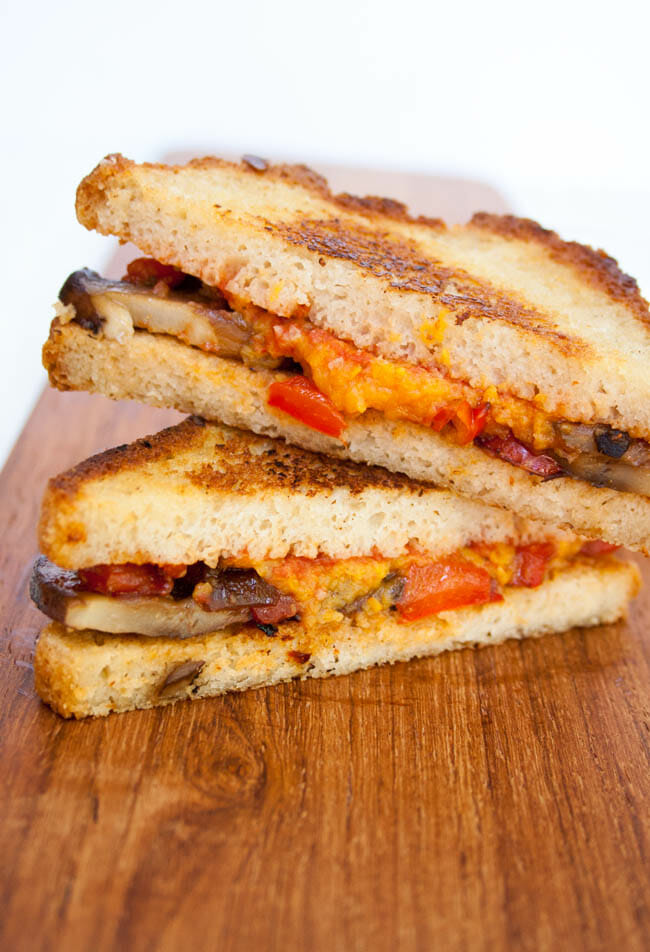 Vegan Enchilada Grilled Cheese stacked.