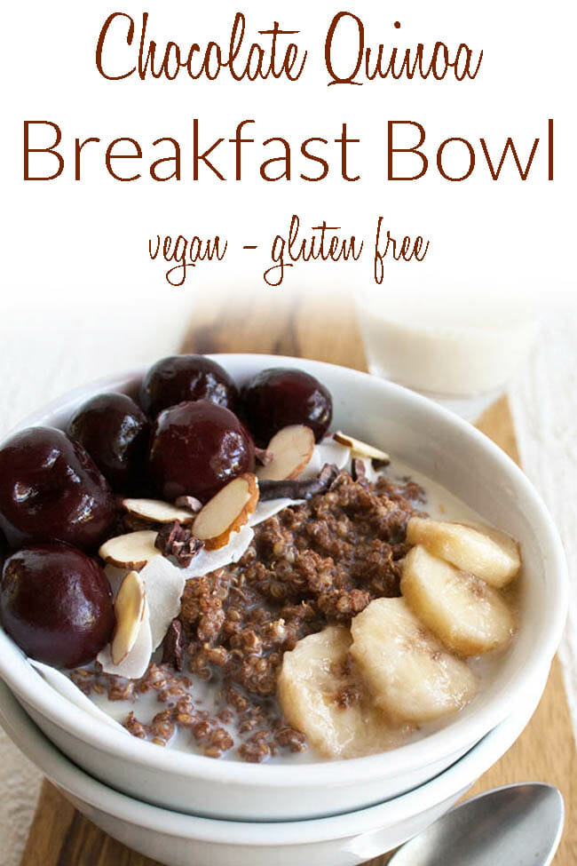 Chocolate Quinoa Breakfast Bowl photo with text.