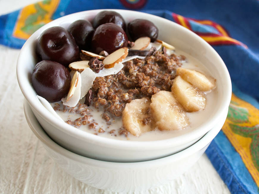 Breakfast Quinoa Bowl with Chocolate close up.