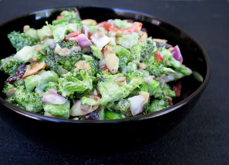 Vegan Broccoli Salad with Dried Cranberries close up.