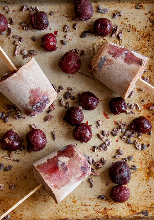 Chocolate Cherry Chia Pudding Popsicles birds eye view.