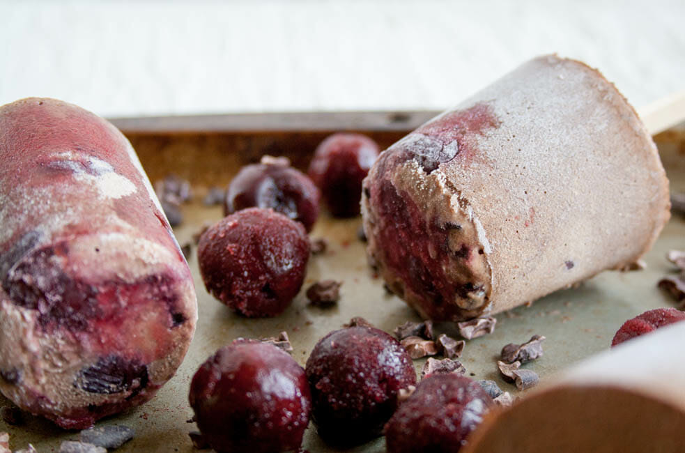 Chocolate Cherry Chia Pudding Popsicles close up.