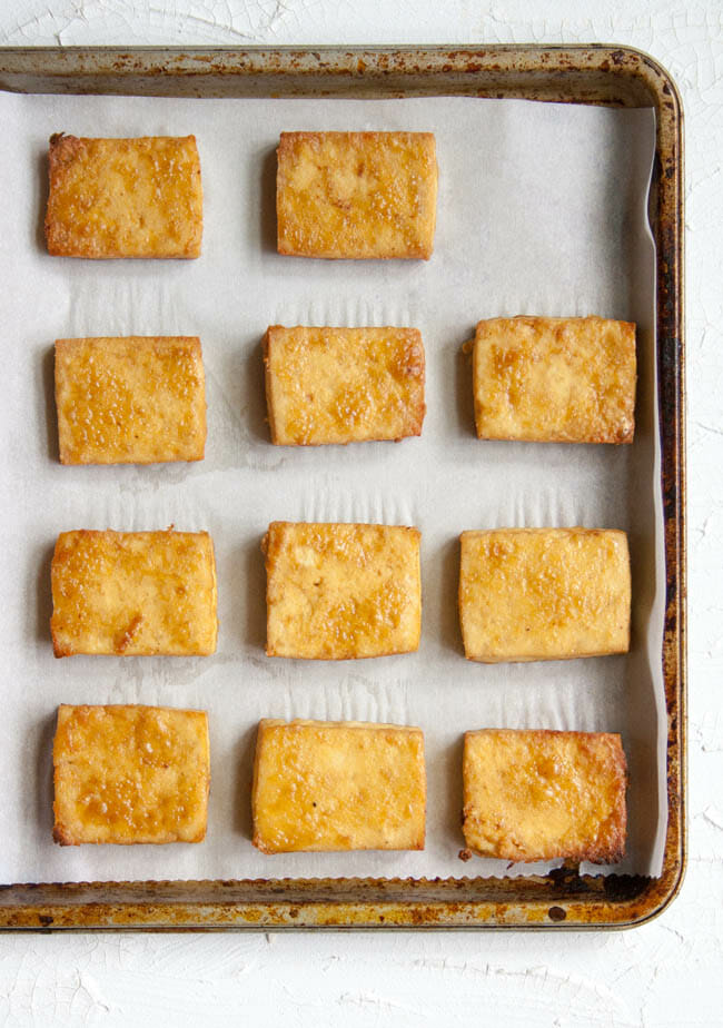 Maple Dijon Baked Tofu on baking sheet.