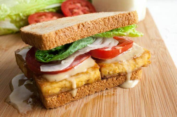 Maple Dijon Baked Tofu Sandwich