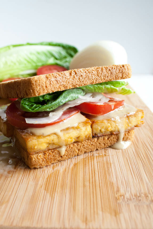 Baked Tofu Sandwich close up.