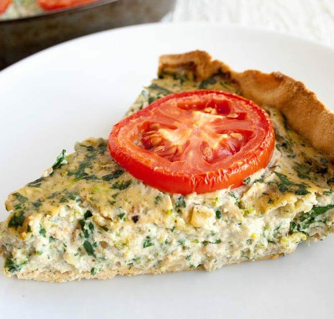 Spinach and Broccoli Vegan Quiche