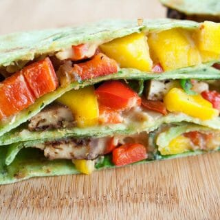Maple Chipotle Baked Tofu and Mango Hummus Quesadilla