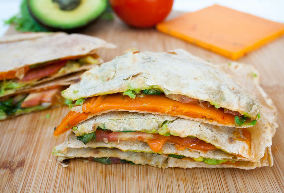 Vegan ALT (Avocado, Lettuce, and Tomato) Quesadilla close up.